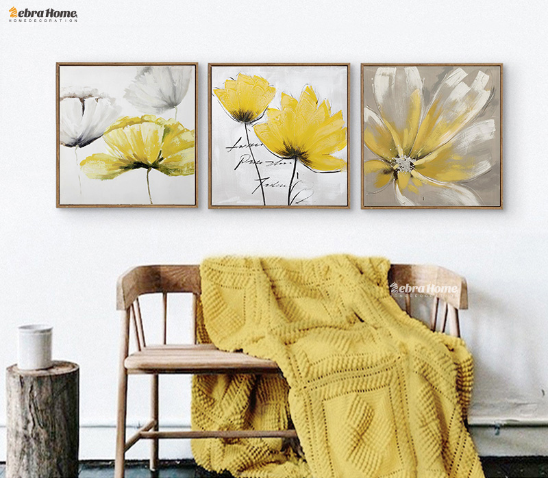 Modern Abstrct Yellow Flower Wall Art Canvas Oil Painting ...
