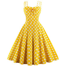 Wipalo Vintage Dresses Summer Polka Dots Dress Yellow Spaghetti Strap Sleeveless Cute Women Party Dresses 2019 New Arrival(China)