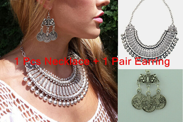 Vintage  Silver Retro Golden Carving Round Charm Ball Coin Zamac Choker Statement Necklace Earring Set Nickel Free