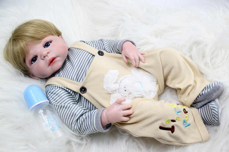 55cm Full Body Silicone Reborn Baby Boy Doll Toys Play House Bathe Toy Newborn Baby Birthday Gift Christmas Present 2017 new 1 6 1 6 12 action figures g43 sinper rifle tactical gun christmas gift free shipping boy toy birthday present