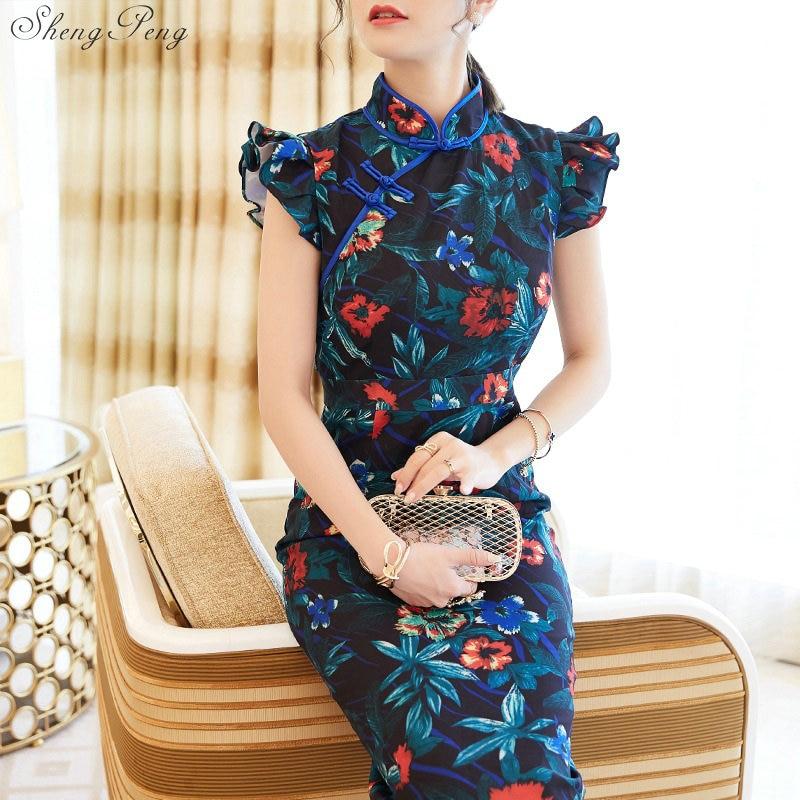 2019 Summer New Fashion Cheongsams Traditional Chinese Dress Women fashion Vintage Slim Mermaid Qipao dress V1429