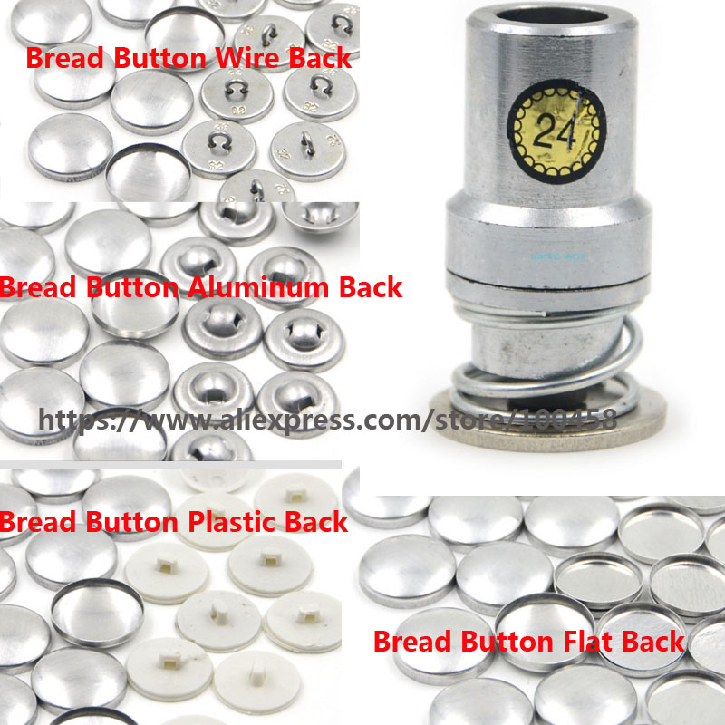 24L 1.4cm Fabric Cloth Covered Button Component with Die Tool Metal Bread Top Flat Plastic Wire AluminuBack DIY Handmade Button