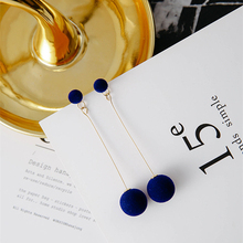 E0371 Fashion Red Black Plush Ball Drop Earrings For Women Korea Velvet Round Long Tassel Dangle Earrings Statement Jewelry Gift