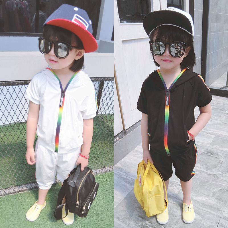Kid Boy Girl Clothes Sportswear Summer Fashion Short Sleeve Colorful Zipper Hooded Clothing For Girls Children Outfit Set 3