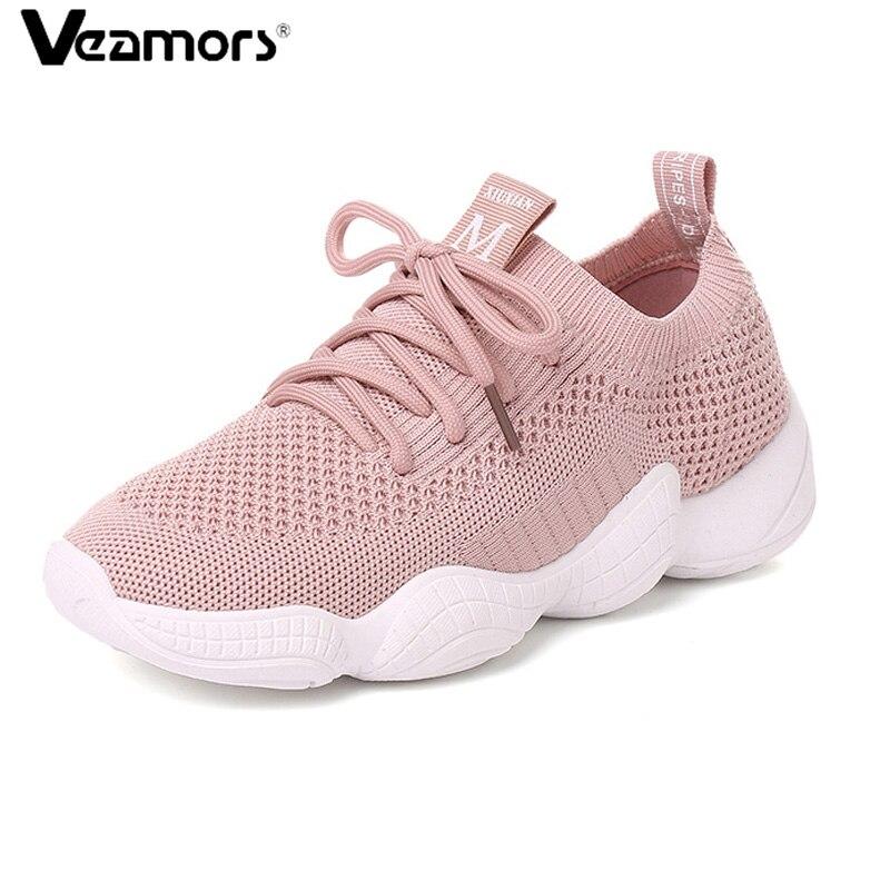 Competent Veamors Vrouwen Loopschoenen 2018 Nieuwe Outdoor Comfortabele Sneakers Ademende Mesh Soft Athletic Jogging Sport Schoenen Voor Meisjes