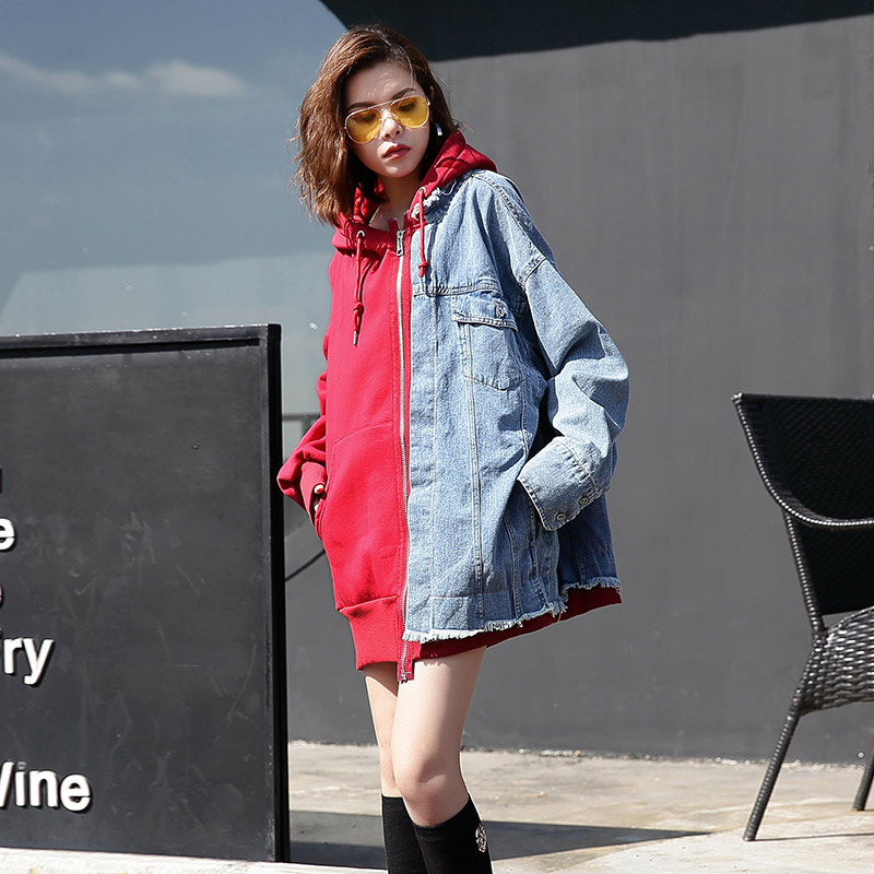 TREND Setter 2018 Spring and Autumn Harajuku Spliced Denim Jacket Women Hood Jean Jacket Loose Long