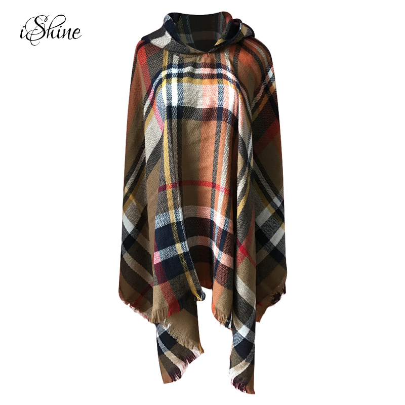 Elegant Women Hooded Tassel Poncho Fashion Plaid Shawls Scarf Female Autumn Winter Warm Keeping Hoodies Wraps Pashmina Scarves