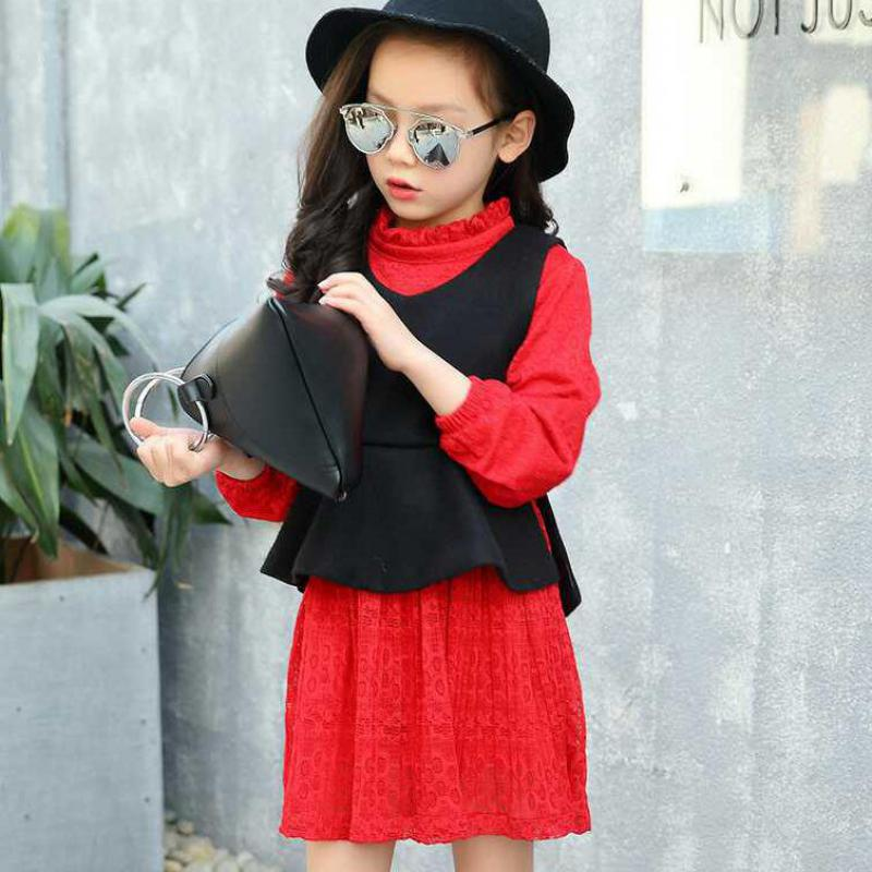 2017 New Arrivals Girls Clothing Sets Autumn Vest + Lace Dress  2 Pieces Red Black Teenage Girls Suits Vetement Enfant Fille 14 autumn winter plaid wool two pieces girls children suit vest dress kids clothing sets white red wool