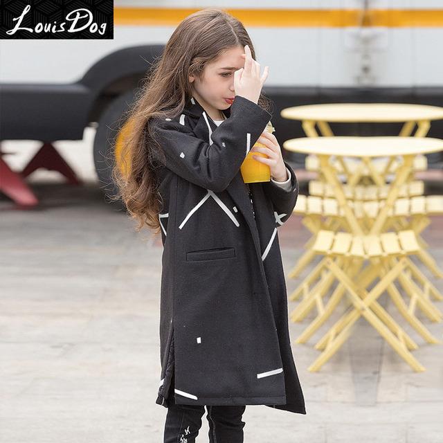 LouisDog adolescente meninas das crianças jaqueta de Inverno acolchoado algodão longo misturas de lã brasão tamanho 6-16yrs