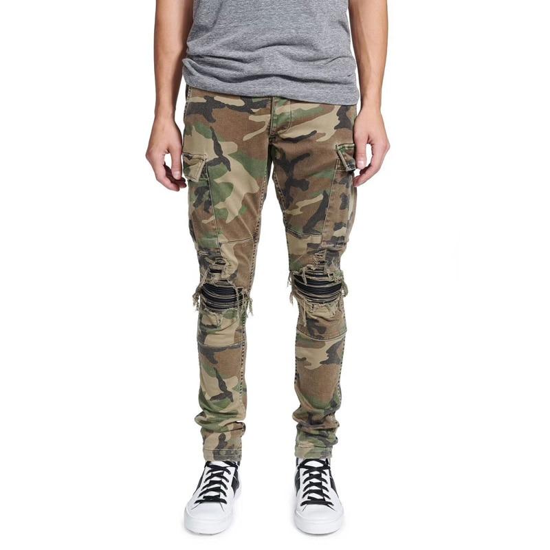 2018 High Street Fashion Hip Hop Jeans Men Punk Pants Camouflage Slim Fit Big Pocket Cargo Pants Brand Men's Ripped Biker Jeans fashion streetwear men s jeans punk style slim fit destroyed ripped jeans men stretch denim pants blue color brand hip hop jeans