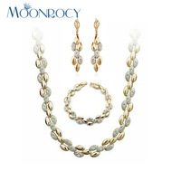 MOONROCY Free Shipping Fashion Crystal Necklace Earrings Bracelet jewelry Set Zirconia Rose Gold Color Jewelry Gift for Women