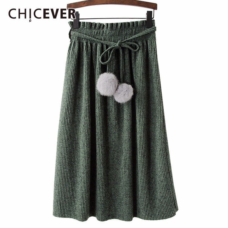 chicever winter black pleated midi skirts elastic