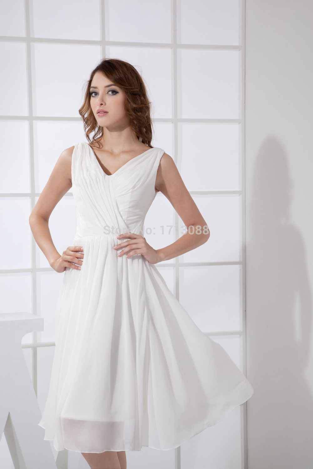 white bridesmaid dresses with V Neck Chiffon,Sleeveless mid length  bridesmaid dresses-in Bridesmaid Dresses from Weddings & Events on  Aliexpress.com | ...