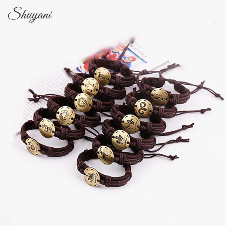12PCS Fashion 12 Zodiac Signs Bracelet Punk Brown Leather Bracelet Adjustable Constellations Charm for Men Jewelry