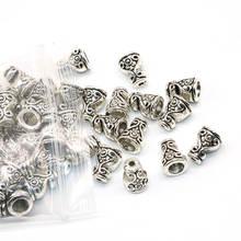 1f20e7734a61 10 7mm 50 unids lote al por mayor cono de Metal casquillos del grano patrón  plateado Flower Beads End Caps joyería de los encant.