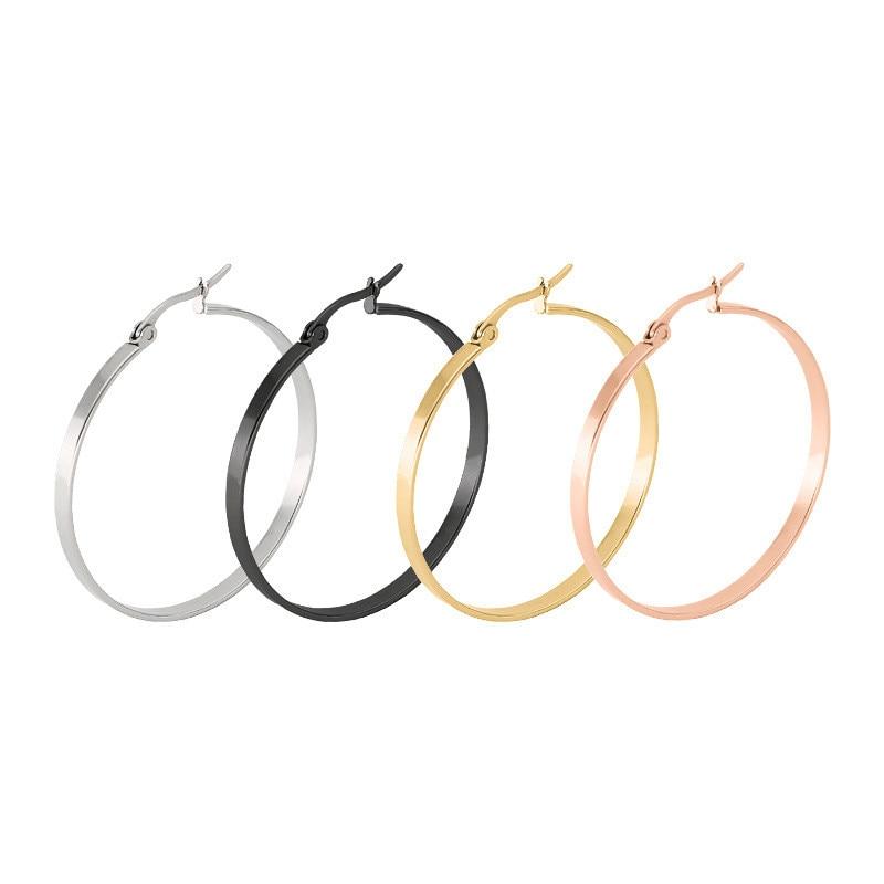 Personlighed Super store flad cirkel stud øreringe til kvinder guld sølv farve trendy rustfrit stål øre smykker
