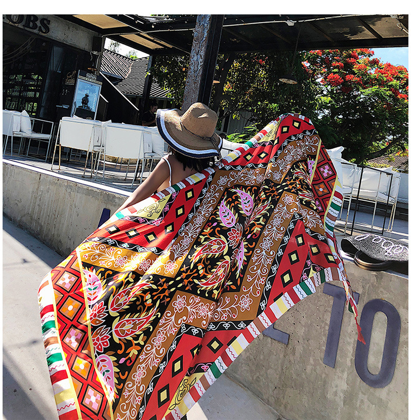 Bohemian Oversize Shawl Women Summer Scarf With Tassel Print Ethnic Style Long Retro Wraps Vacation Cotton Scarf 70.8