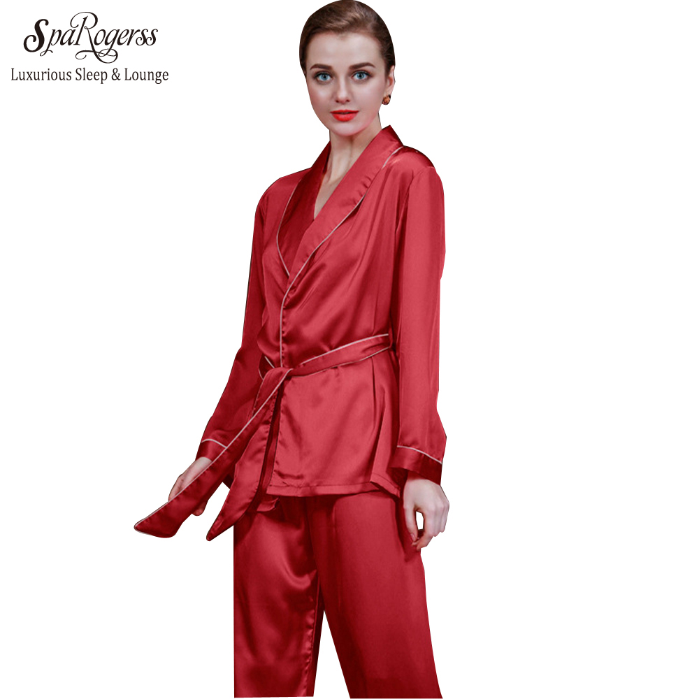 Pyjama-garnituren Damen-nachtwäsche Julys Song 2 Stück Frühling Sommer Frauen Faux Silk Satin Pyjamas Set Langarm Nachtwäsche Pyjamas Anzug Weibliche Schlaf Homewear