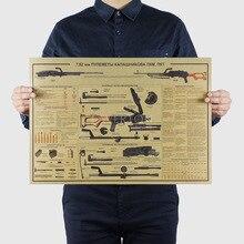 約有名な武器デザイン/銃戦闘機/クラフト紙/バーポスター/レトロポスター/装飾画51 × 35.5センチメートル壁ステッカー