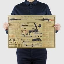 유명한 무기 디자인/총 전투기/크래프트 지/바 포스터/복고풍 포스터/장식 그림 51x35.5cm 벽 스티커에 대해
