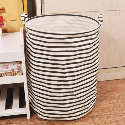 Laundry Basket Home Washing Sorter Hamper Cotton Linen Toys Storage Bag Foldable