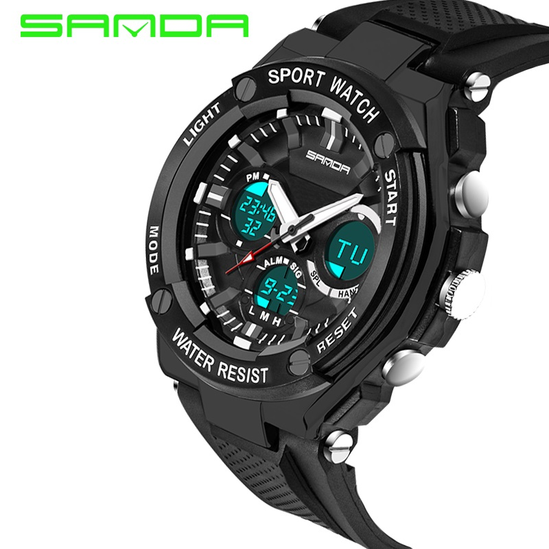 2018 new Sanda 733 outdoor sports stopwatch, shockproof digital LED quartz double Rubber Strap Watch sanda 733 double movt led sports watch with stopwatch alarm day date function