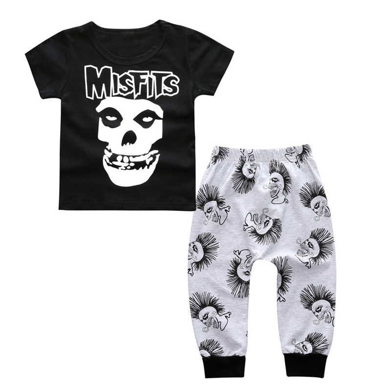 Summer Fashion Baby Boy Clothing Sets Newborn Misfits Skull Print Short Sleeve T-shirt+Pants Baby Boys Clothes Toddler Outfits