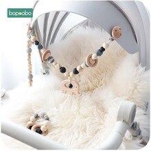 Brinquedo do bebê clipe de pram de madeira bebê móvel pram personalizar silicone grânulo chupeta corrente mastigável silicone chocalho mordedor de madeira do bebê