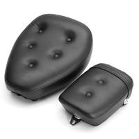 2Pcs PU Leather Black Front Rear Motorcycle Seat For Yamaha Virago XV250 1988 2013 2009 2010 ABS Sponge Waterproof