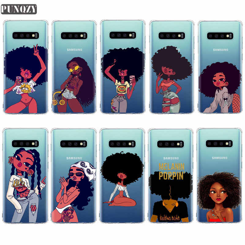 Afro Black Girl Magic Melanin Poppin phone Case For Samsung A50 A70 S6 S7 Edge Case for Samsung S10 E S9 S8 Plus Soft TPU Case