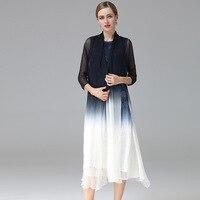 В европейском и американском стиле Модные два комплекта из 2018 новые женские летние вышивка шелковое платье Свободные Большой шелк природы