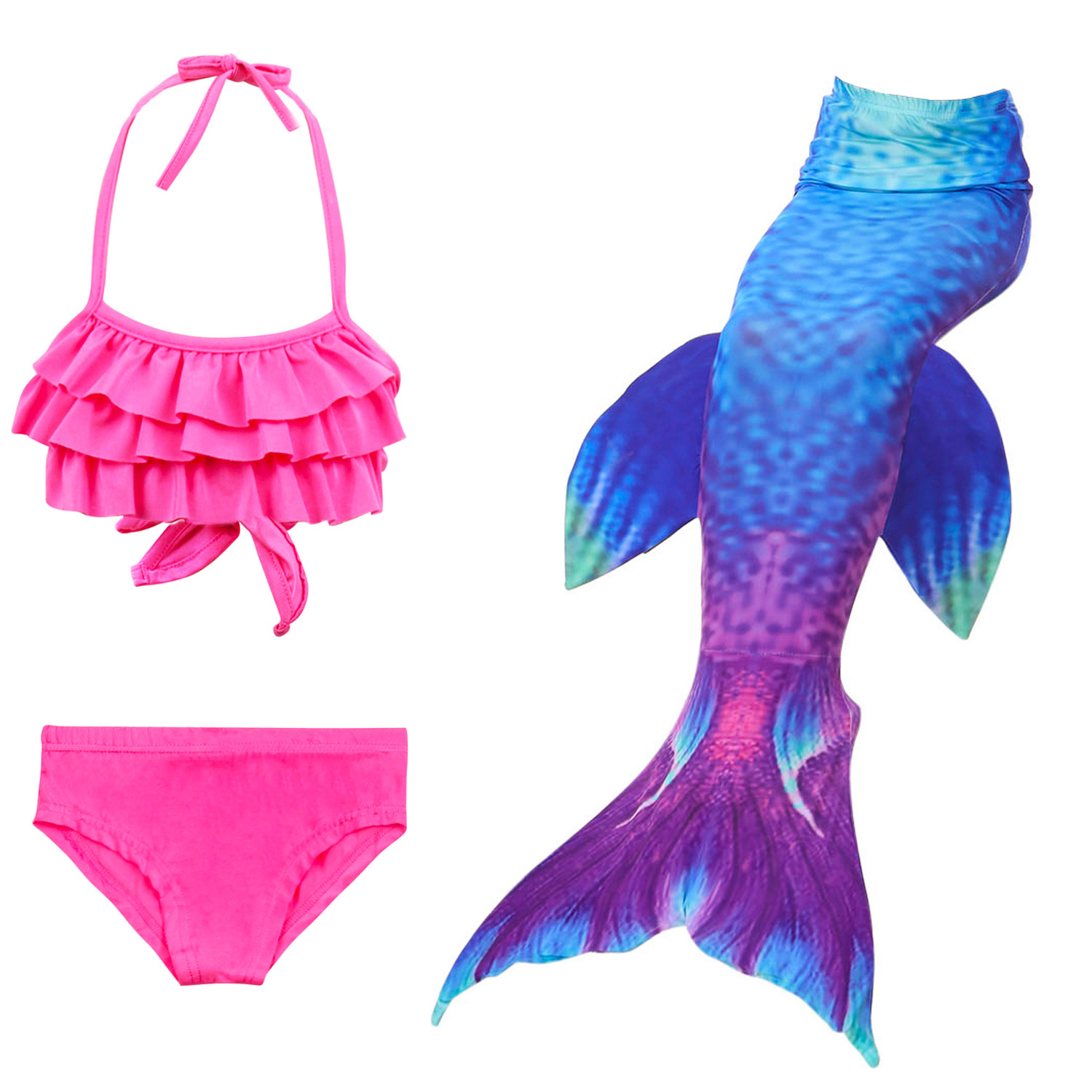 Girls Mermaid Tail For Swimming Girls Bikini Swimsuit Cosplay Kids Swimmalbe Mermaid Tail Princess Dress Costume