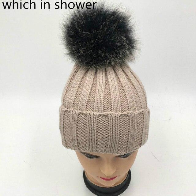 Que en la ducha real negro Frost Fox fur pompom niños sombrero de Invierno  Caliente knit 390705feede