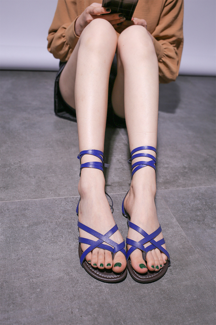 HTB15dRmPYvpK1RjSZFqq6AXUVXa2 New Women Sandals Gladiator Summer Casual Women Shoes Large Size Rome Flat Sandals Lace-Up Beach Comfortable Sandals Women 2019