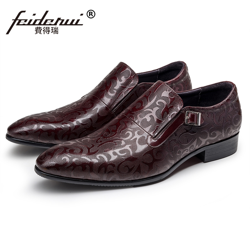 2018 Luxury Formal Man Handmade Monk Strap Party Shoes Genuine Leather Pointed Toe Height Increasing Men's Casual Footwear JS16 luxury snake pattern patent leather men s monk strap formal dress footwear round toe handmade male casual shoes for man ymx411