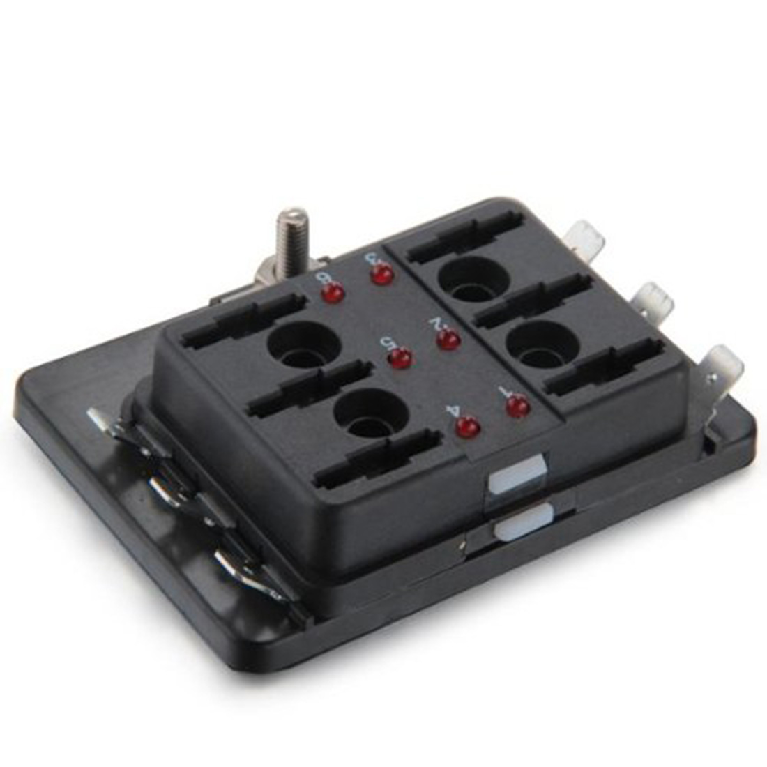 Marsnaska Hot Sale 6 Way Blade Fuse Box Holder Positive Bus In 12v Melted When The Fuses Are Led Bulb Will Be Onone And Six Out Working Mode Package Includes 1 X