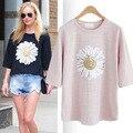 Плюс большой размер топы blusas feminina весна лето стиль 2016 корейской моды симпатичные белый розовый цветы печати футболки женский A0655