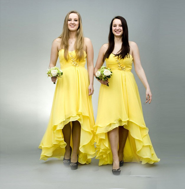 94bc37e87895 high low yellow bridesmaid dresses 2017 sweetheart off shoulder chiffon wedding  guest gown evening party dress vestido