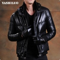 Retro Sheepskin 100% Real Leather Short Jackets Duck Down Male Coat Stand Collar High Quality Motorcycle Blouson Cuir Homme