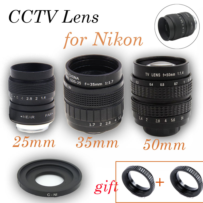 цена на Fujian 3in1 25mm F1.4 35mm f1.7 50mm Movie CCTV Lens C-N1 Mount Ring Macro lens KIT for Nikon 1 S2 J5 J4 J3 J2 V1 V2 V3 N1 AW1