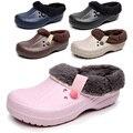 Mujeres del Invierno Hombres Zuecos Zapatillas Zuecos Zapatos del Jardín de EVA Resistente Al Agua Para Los Hombres Zueco Mujer Hombre Del Color Del Caramelo Caliente 36-44