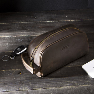 Image 5 - CONTACTS cosmetic bag small for men crazy horse leather vintage toiletry case black travel bag hand held make up wash bags male