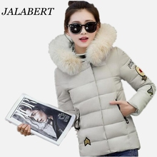 2016 winter new women feather padded collar ovo jacket female short casual thick printing coat
