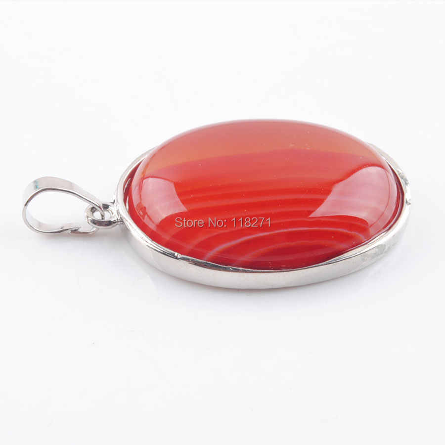 WOJIAER Natural Red Agates Bead Oval Silver Plated Healing Reiki Chakra Necklace&Pendant Jewelry PN3690