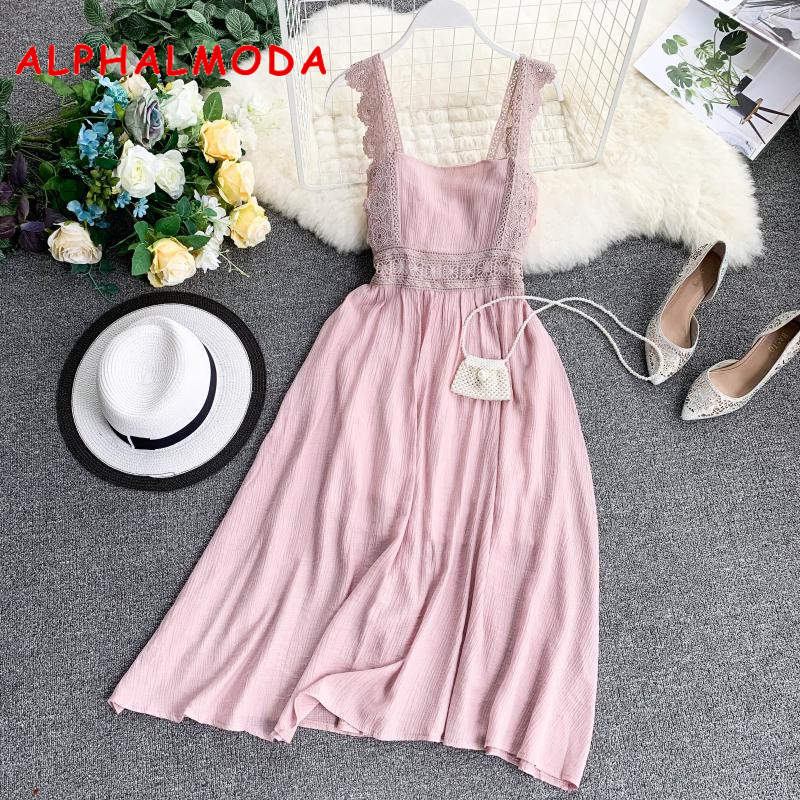 b47da98039db ALPHALMODA 2019 vestido de verano de vacaciones con correa de encaje de  cintura alta para mujer Vestidos casuales sólidos playa Resort vestido Midi  femenino
