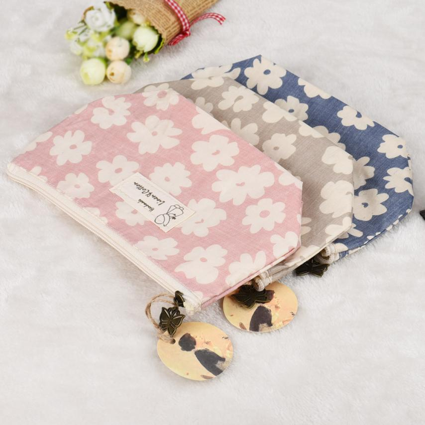 TOP Qualit Portable Travel Cosmetic Bag Makeup Case Pouch Toiletry Wash Organizer linen Material viaje bag