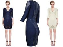 High quality 2015 new dress Navy blue And beige Stretch knit Sexy V-neck Cocktail party Bandage dress (L626)