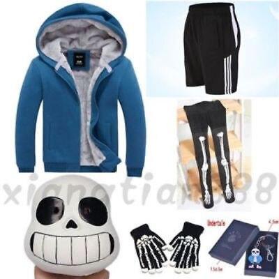 Jeu Undertale Sans À Capuche Veste + Shorts + Bas + Masque + Gants + Porte-clés Halloween Cosplay Costume Costumes Outfit accessoires Ensemble Unisexe
