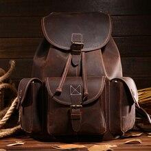 Rétro minimaliste sac à bandoulière crazy horse en cuir loisirs voyage sac à dos en cuir de vachette hommes sac à dos en cuir garantie