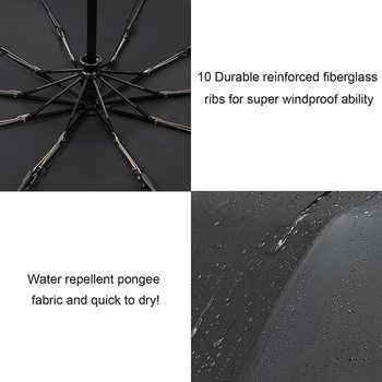 TOPX New Big Strong Fashion Windproof Umbrella Men Gentle 3Fold Compact Fully Automatic Rain High Quality Pongee Umbrella Women
